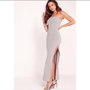 Missguided high slit maxi dress ice gray